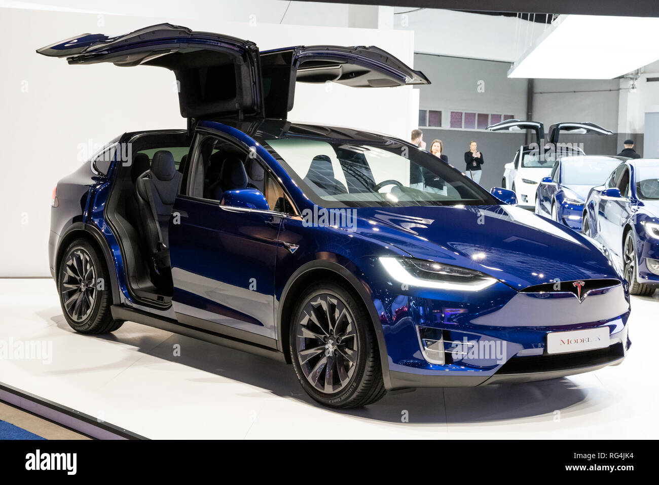 Brussels Jan 18 2019 Tesla Model X Electric Car Showcased At The 97th Brussels Motor Show 2019 Autosalon Stock Photo Alamy