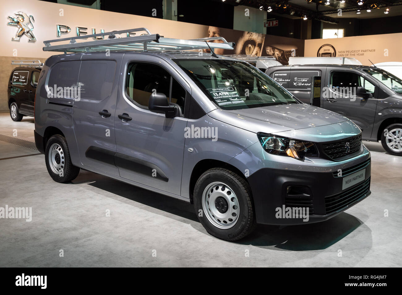 Brussels Jan 18 2019 Peugeot Partner Commercial Vehicle Showcased At The 97th Brussels Motor Show 2019 Autosalon Stock Photo Alamy