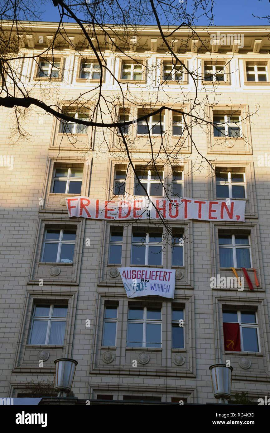 Tenants' protest over the sale of apartments on the Karl Marx Allee to a large property company, the latest in a wave of protests over skyrocketing re - Stock Image