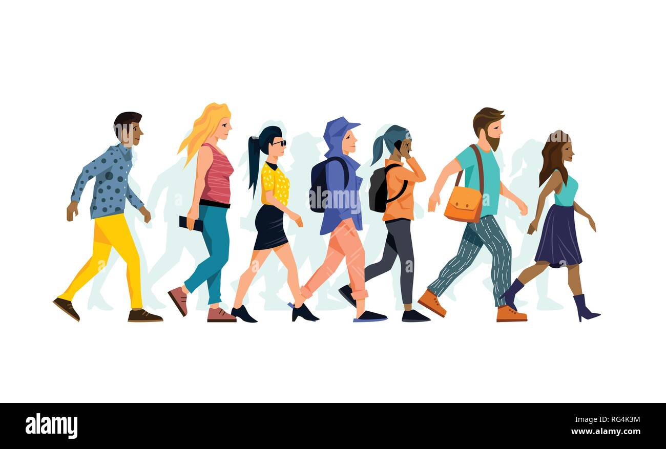 A group of various different character people walking together. Vector illustration. - Stock Image