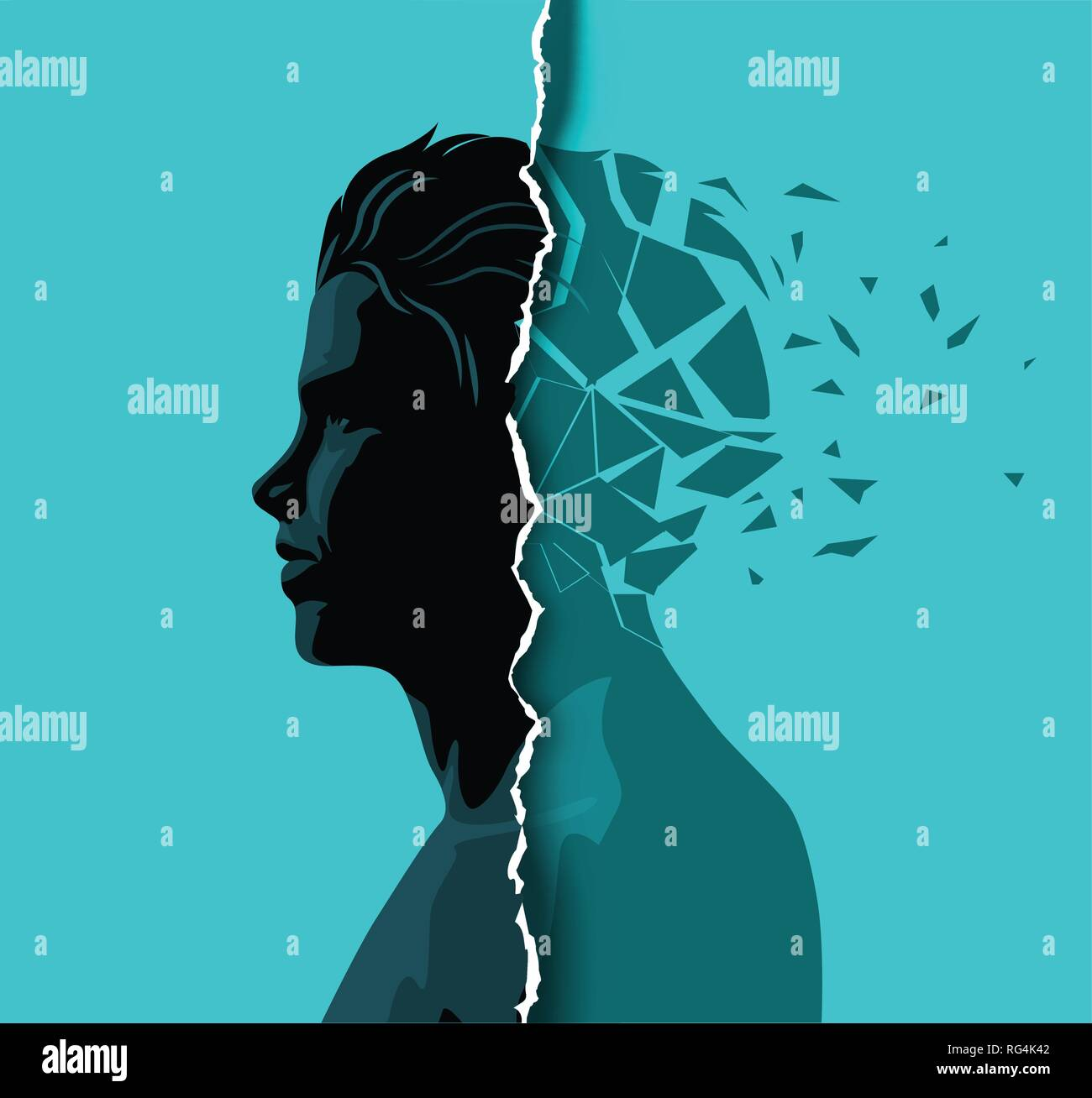 A adult male dealing with mental health issues. Anxiety, mindfulness and awareness concept. Vector illustration. - Stock Vector