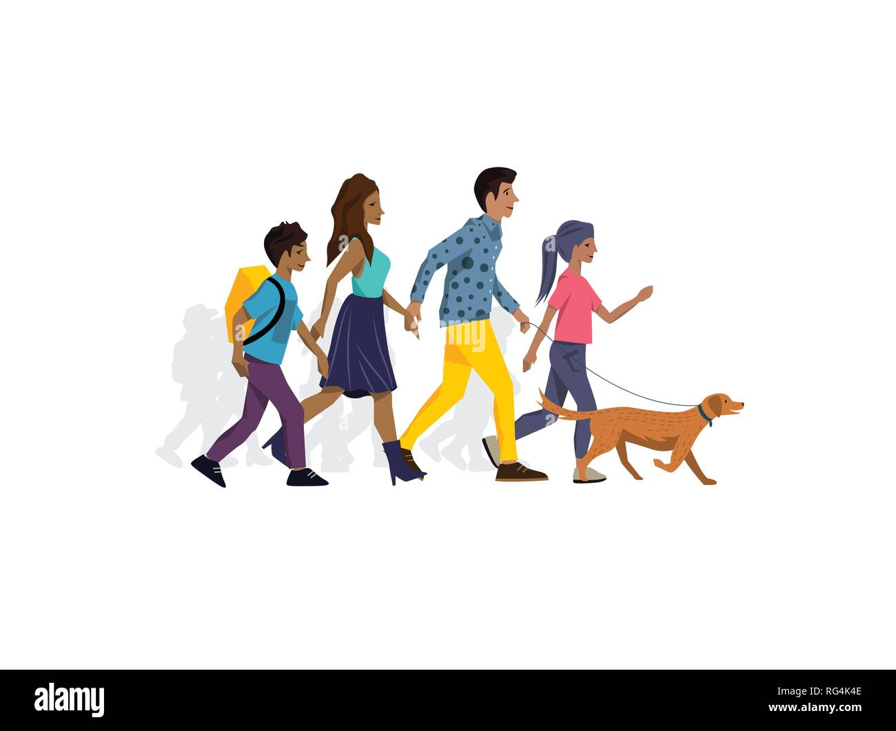 Family members walking the dog in the park and spending time together. Vector illustration. - Stock Vector