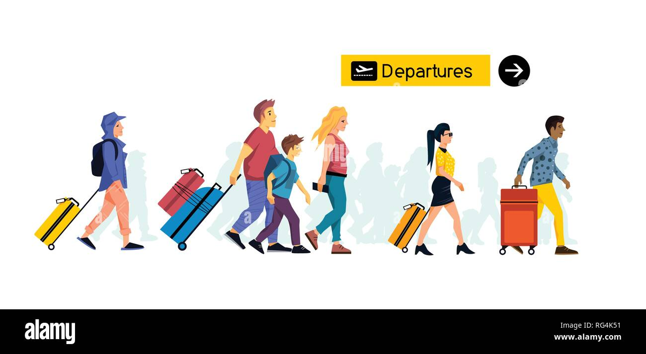 groups of people friends and family members travelling through an airport terminal with suitcases and hand luggage for leisure and business. Vector il - Stock Vector