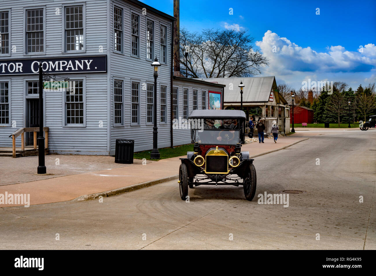 Dearborn, MI USA - 04.21.2018 : Ford t model in the greenfield village next to the first old original rebuilt Ford Motor Company on sunny day - Stock Image