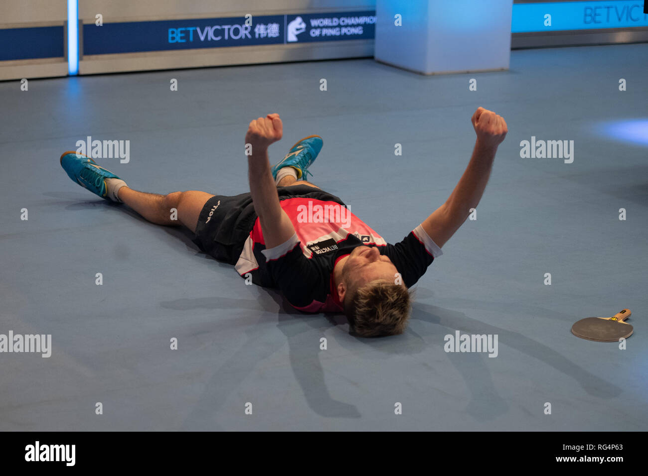 London, UK. 27th Jan, 2019. Andrew Baggaley (ENG) celebrates winning the Final during Betvictor World Championship of Ping Pong - 2019 tournament - last 16 knockout stage at Alexander Palace on Sunday, 27 January 2019. LONDON ENGLAND. (Editorial use only, license required for commercial use. No use in betting, games or a single club/league/player publications.) Credit: Taka G Wu/Alamy News Credit: Taka Wu/Alamy Live News - Stock Image