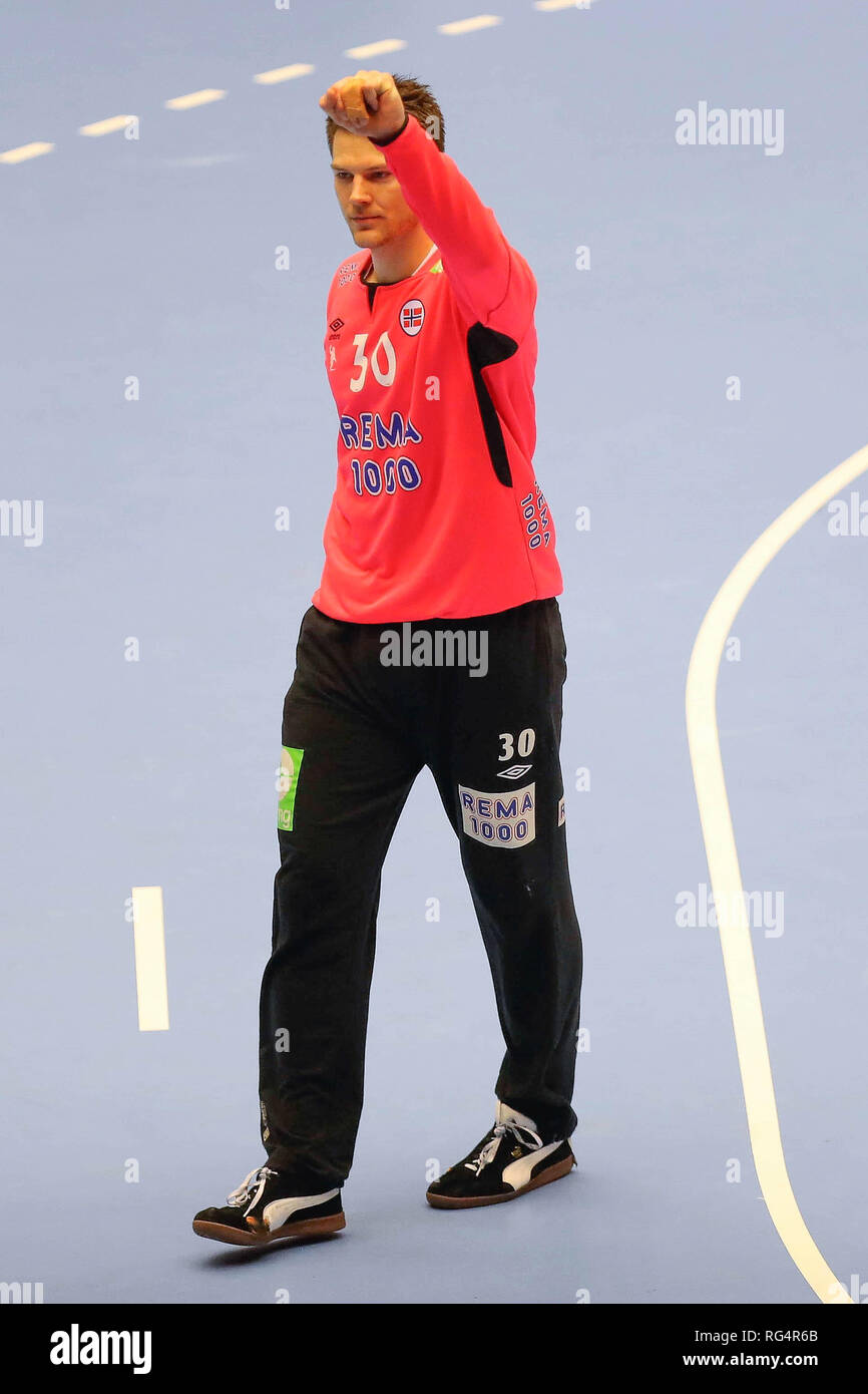 Herning, Denmark. 27th Jan, 2019. Torbjorn Bergerud (Norway) during the IHF Men's World Championship 2019, final round handball match between Norway and Denmark on January 27, 2019 at Jyske Bank Boxen in Herning, Denmark - Photo Laurent Lairys/DPPI Credit: Laurent Lairys/Agence Locevaphotos/Alamy Live News - Stock Image