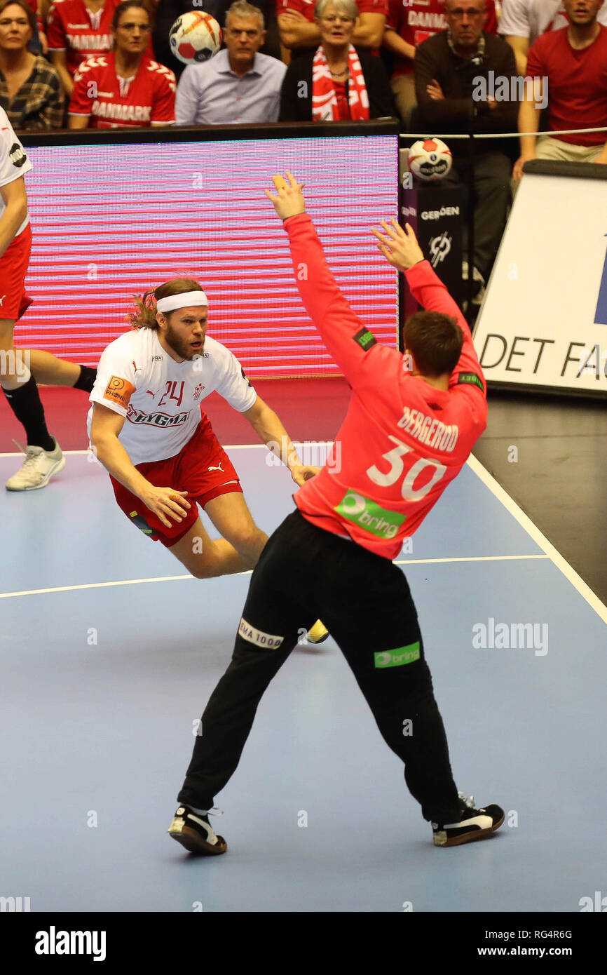 Herning, Denmark. 27th Jan, 2019. Mikkel Hansen (Denmark) and Torbjorn Bergerud (Norway) during the IHF Men's World Championship 2019, final round handball match between Norway and Denmark on January 27, 2019 at Jyske Bank Boxen in Herning, Denmark - Photo Laurent Lairys/DPPI Credit: Laurent Lairys/Agence Locevaphotos/Alamy Live News - Stock Image