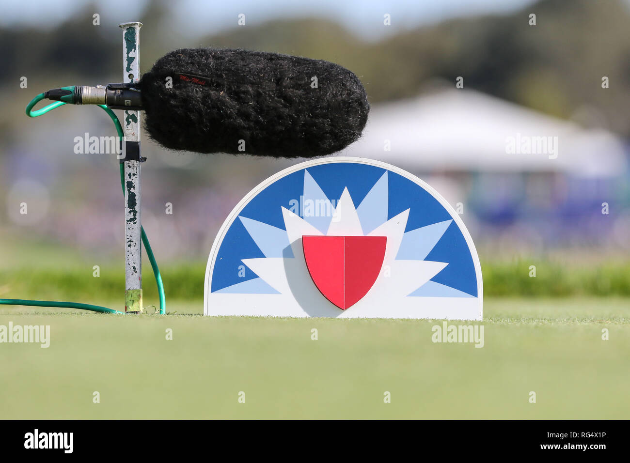 San Diego, California, USA. 27th Jan, 2019. Farmers logo tee marker and microphone during final round of the Farmers Open at Torrey Pines golf course in San Diego, Ca on January 27, 2019. Jevone Moore Credit: csm/Alamy Live News - Stock Image