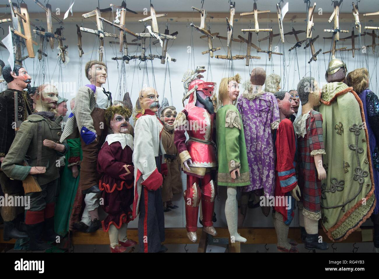 Dresden, Germany  12th Dec, 2018  Various marionettes hang next to