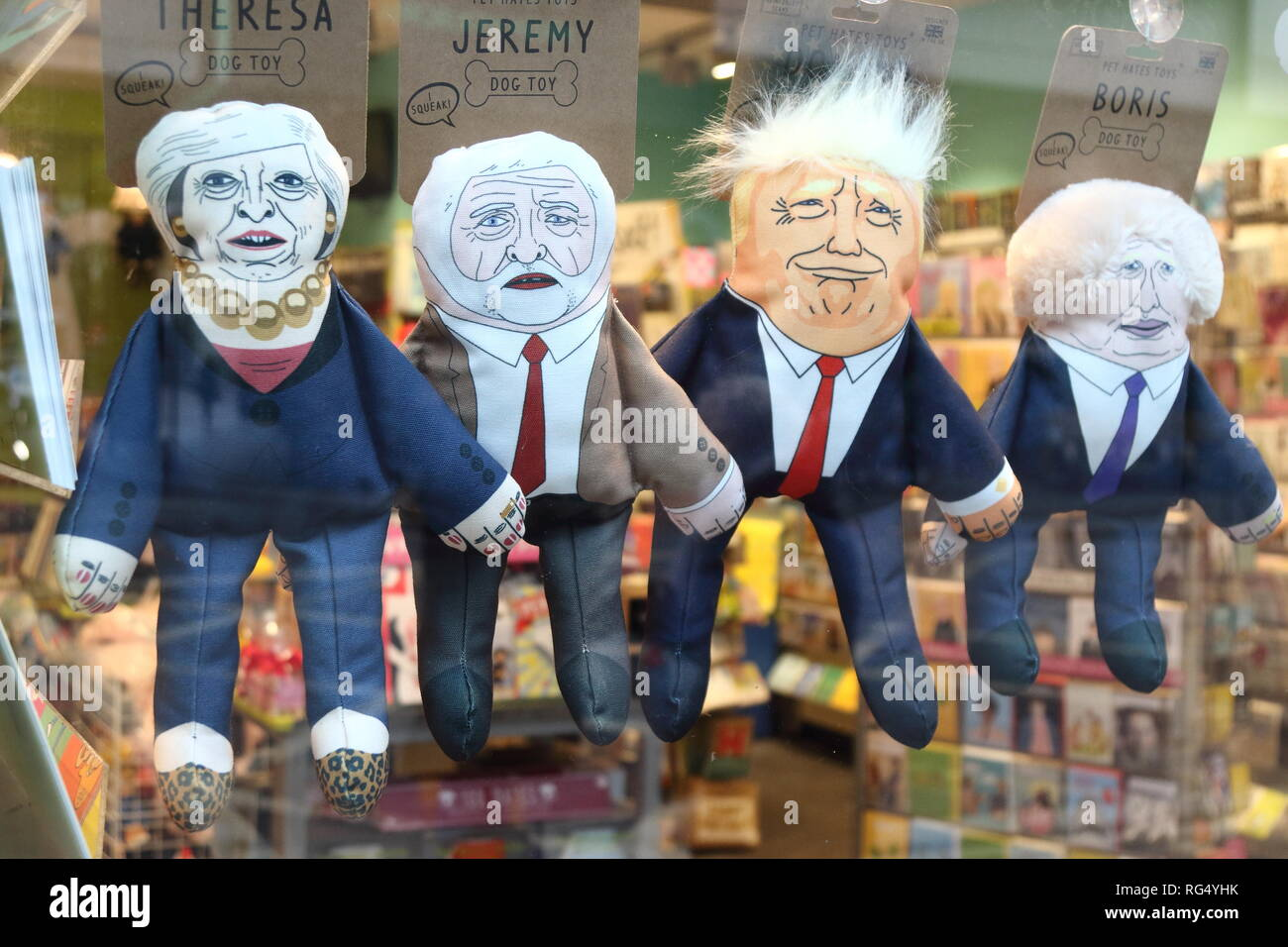 Humorous puppets of politicians are seen on sale at the London shop - Theresa May (UK Prime Minister), Jeremy Corbyn (Leader of UK Labour Party) Donald Trump (US President) and Boris Johnson (former UK Foreign Secretary and Pro Brexiteer) - Stock Image