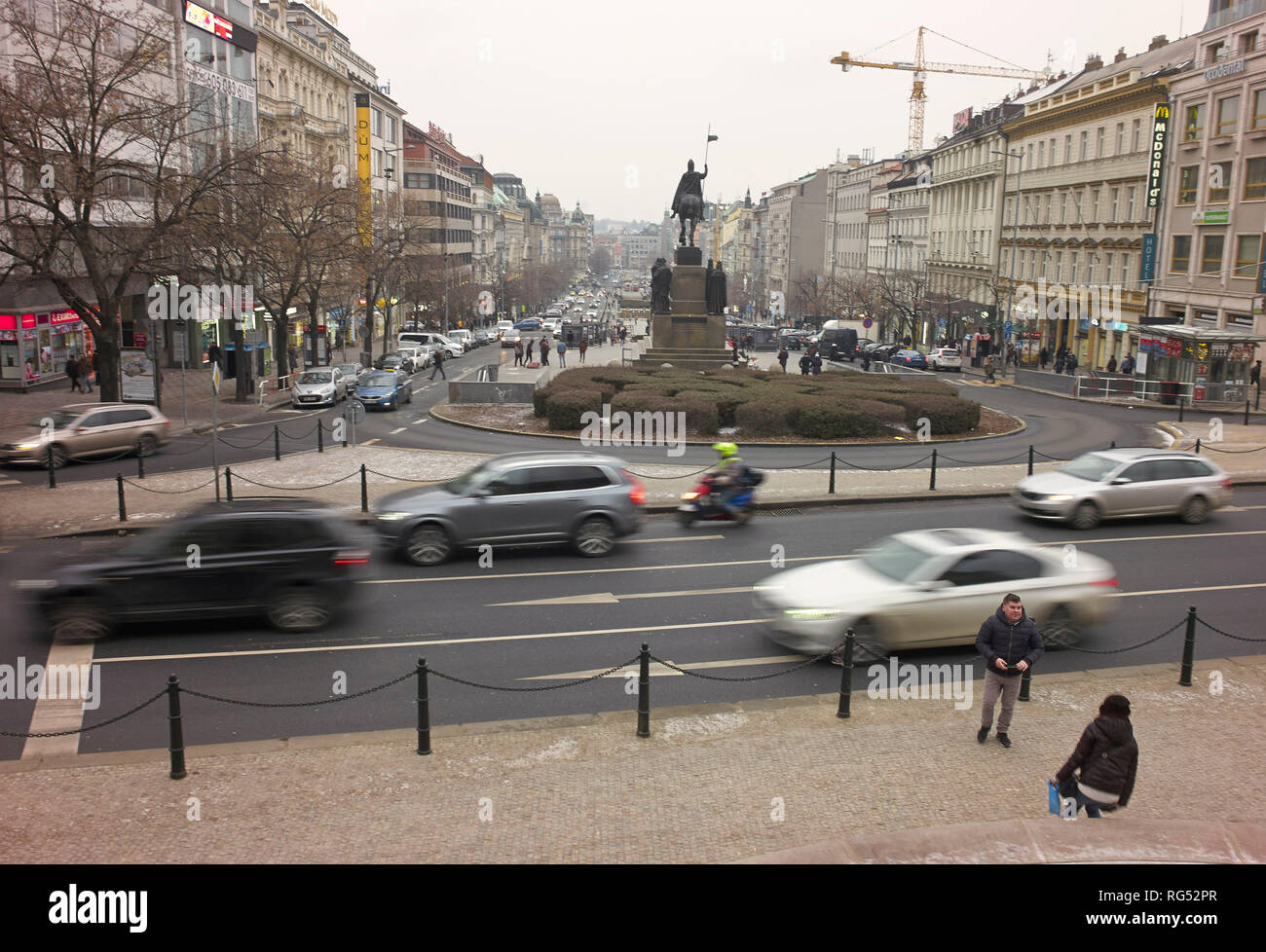 Prag, Czechia  24th Jan, 2019  Cars drive in the Czech capital  Car