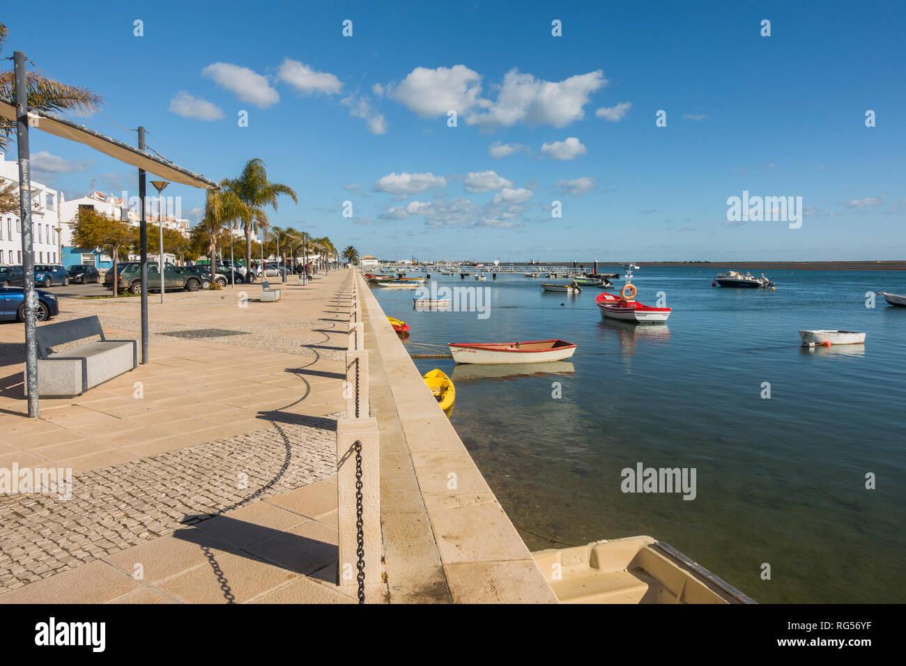Traditional Portuguese fishing village, Santa Luzia, Algarve, Portugal, Europe. Stock Photo