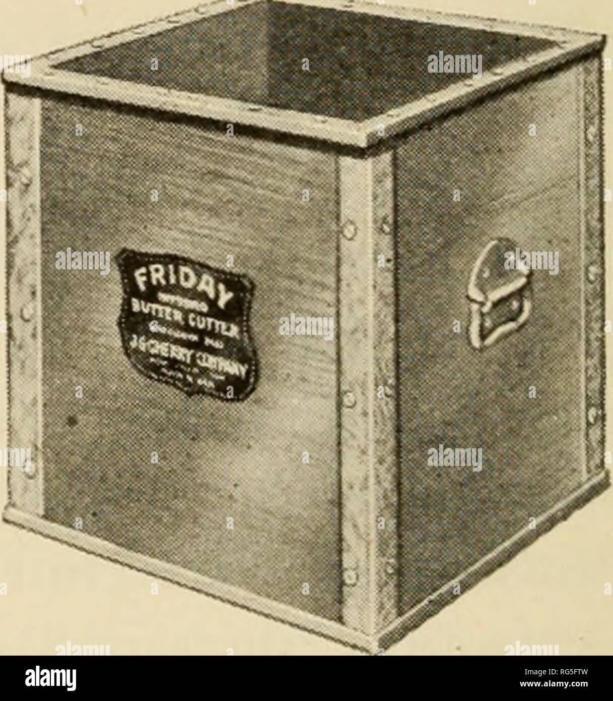 . The butter industry, prepared for the use of creameries, dairy students and pure food departments. Butter. Fig-. 74. Priday Box Pig-. 73. Priday Printer Courtesy J. G. Cherry Co. age is the one pound print of the following standard dimensions: 2^ X 2^ X 4^ inches, wrapped in parchment, or wax paper, or both and slipped into a carton. Some creameries wrap an additional paper around the carton and seal it at both ends. Considerable quantities of butter are sold in one-half pound and one-quarter pound prints wrapped in the same manner as the one pound prints and varying in shape from a flat sla Stock Photo