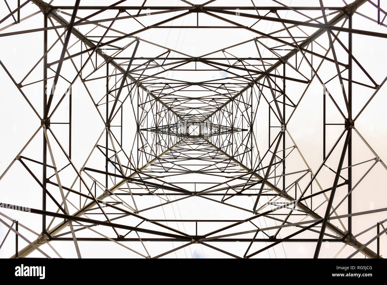 High-voltage power transmission tower, abstract,  background - Stock Image