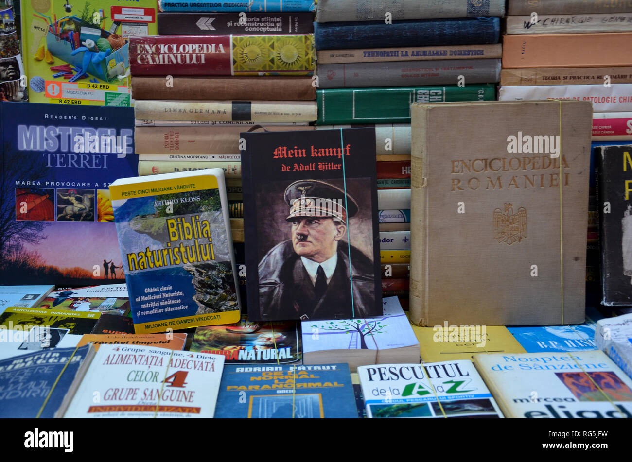 Mein Kampf by Adolf Hitler on sale at a book stall in central Bucharest, Romania, November 2018 - Stock Image