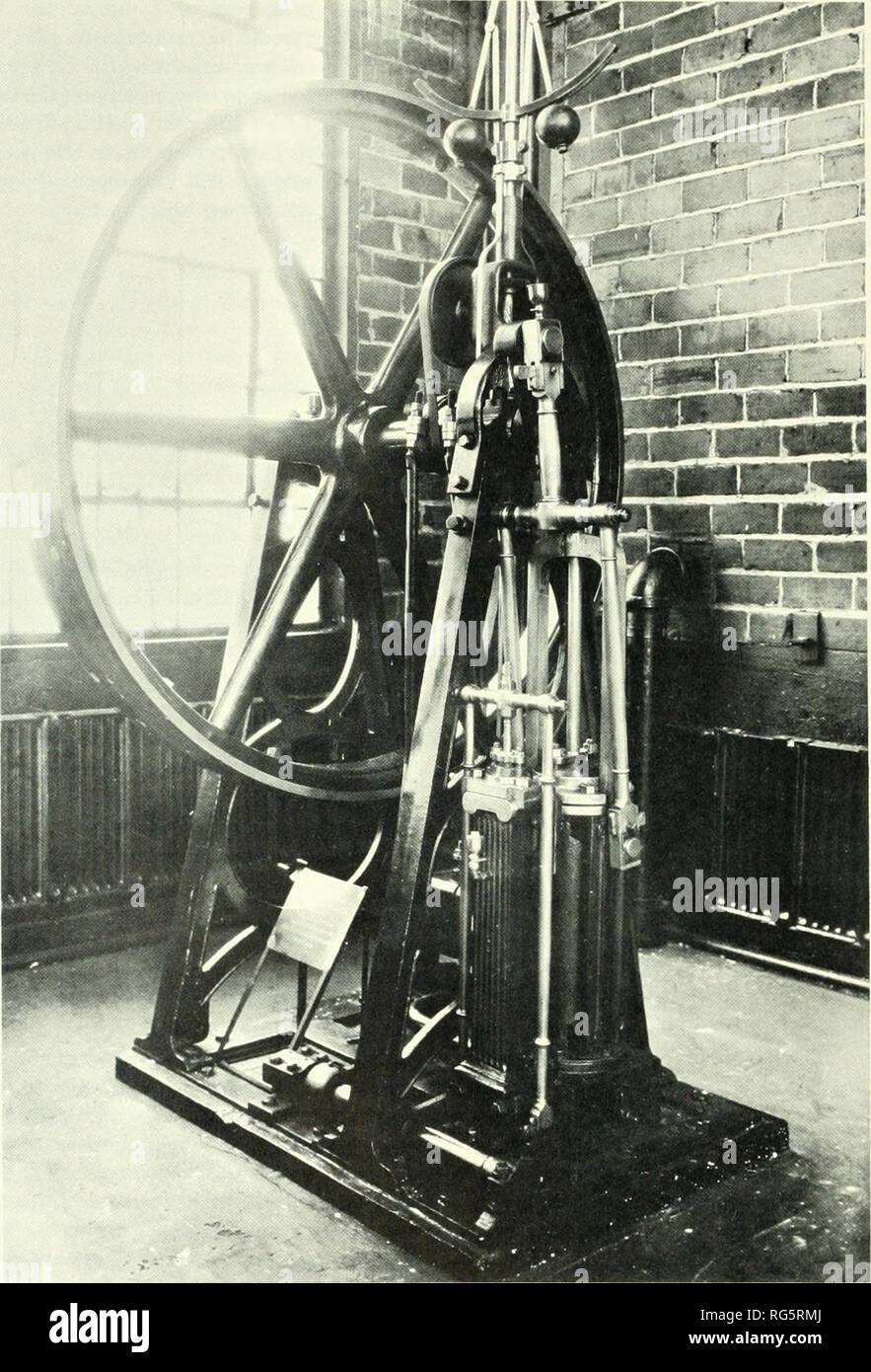 . Bulletin - United States National Museum. Science. Figure 78.—Baldwin's stationary steam engine, 1829, shown after retirement, about 1920. The governor drive, originally consisting of friction wheels, had been modified and the flywheel had been replaced. The engine is now in the U.S. National Museum. Photograph courtesy of Association of American Railroads. 186. Please note that these images are extracted from scanned page images that may have been digitally enhanced for readability - coloration and appearance of these illustrations may not perfectly resemble the original work.. United State - Stock Image