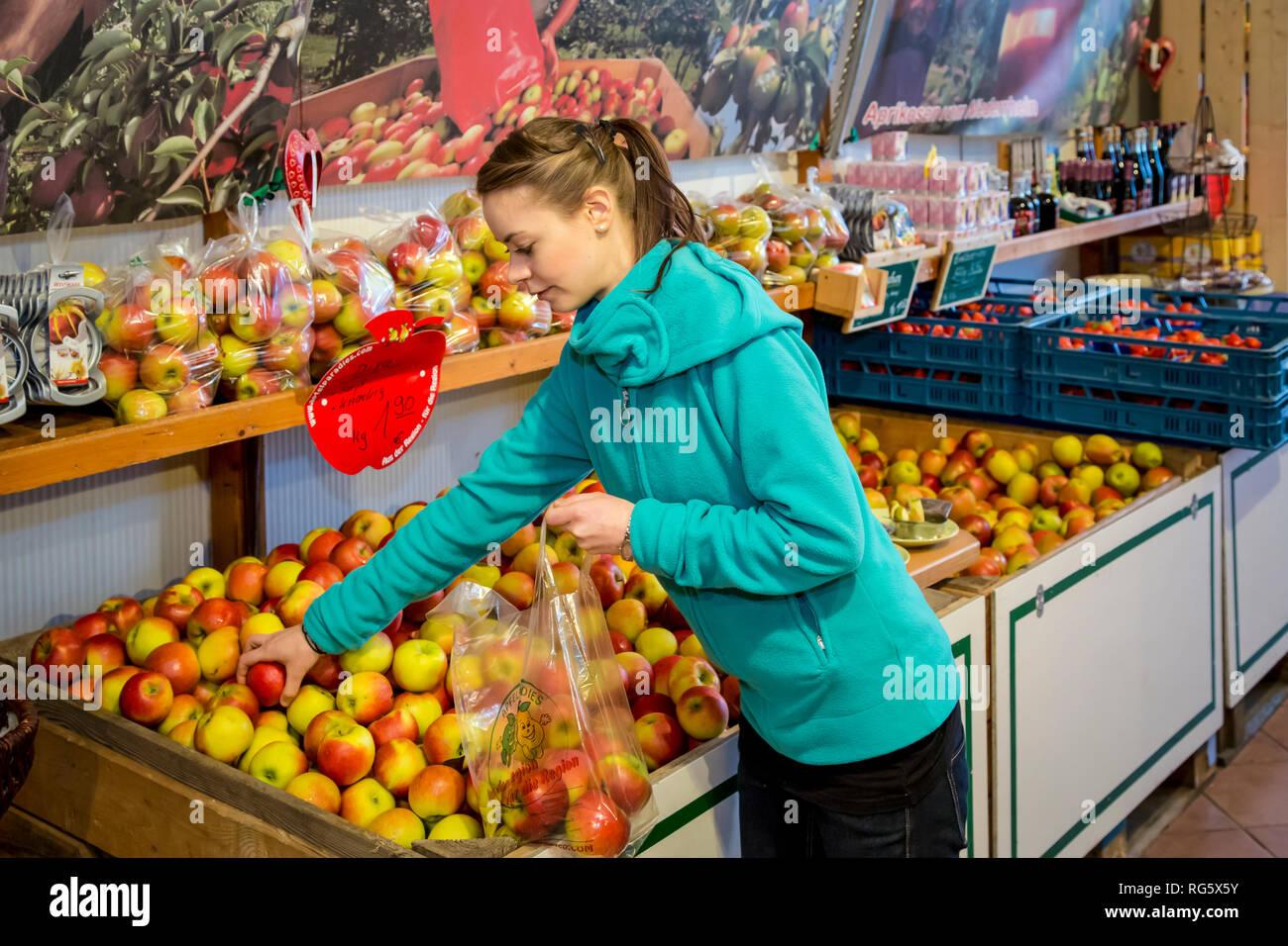 Customer buys apples at farm shop, Kundin kauft €pfel im Hofladen Stock Photo