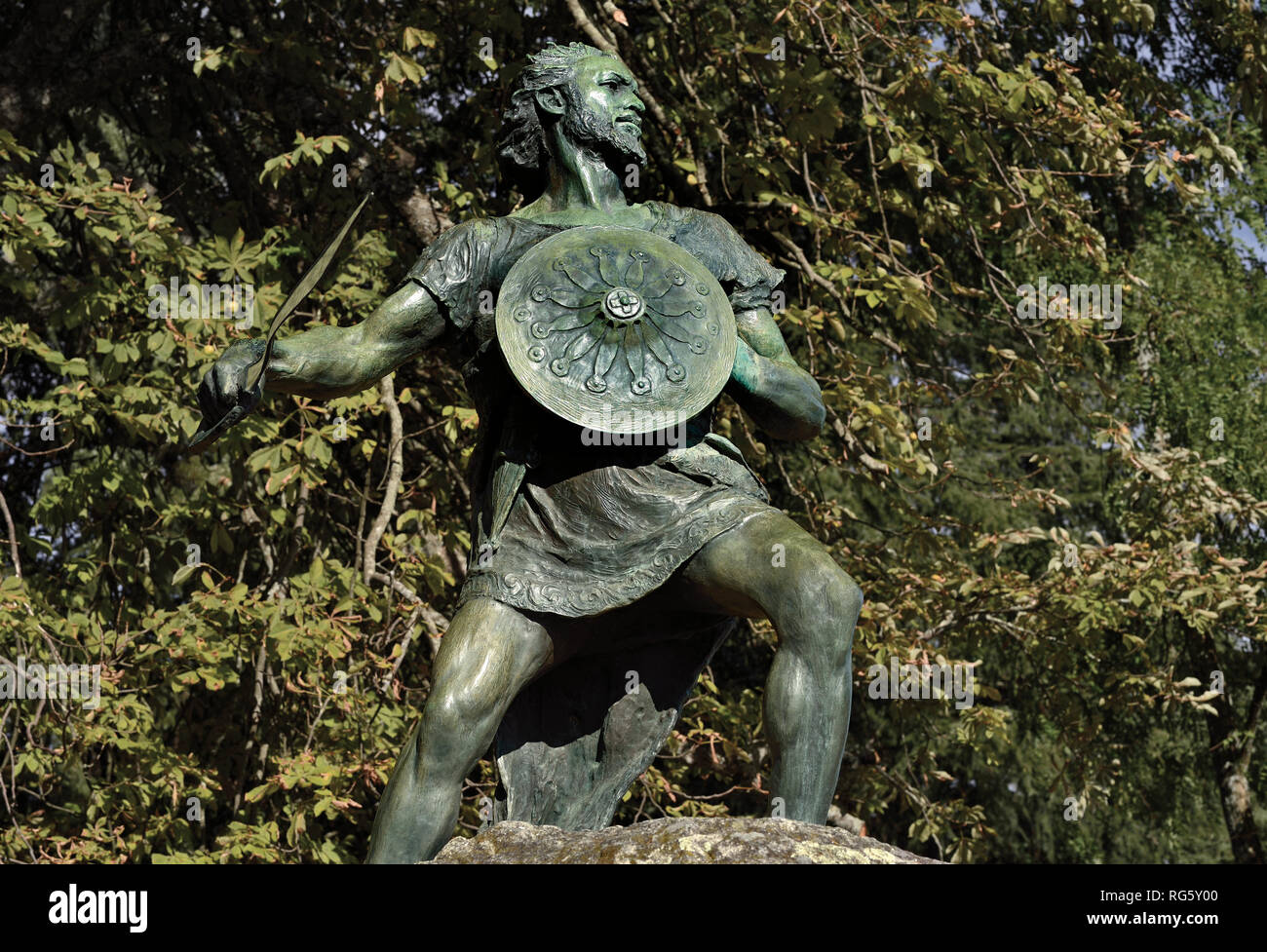 Bronze statue with celtic warrior - Stock Image