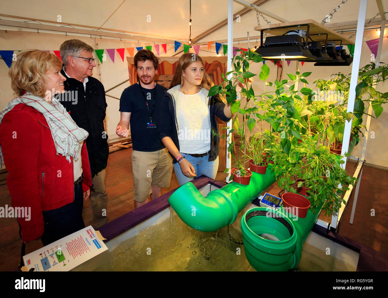 Aquaponic-Urban Farming Project, Dortmunder U, WissensNacht Ruhr, a project for the climate metropolis Ruhr 2022, Aquaponik-Urban Farming Projekt, Dor Stock Photo