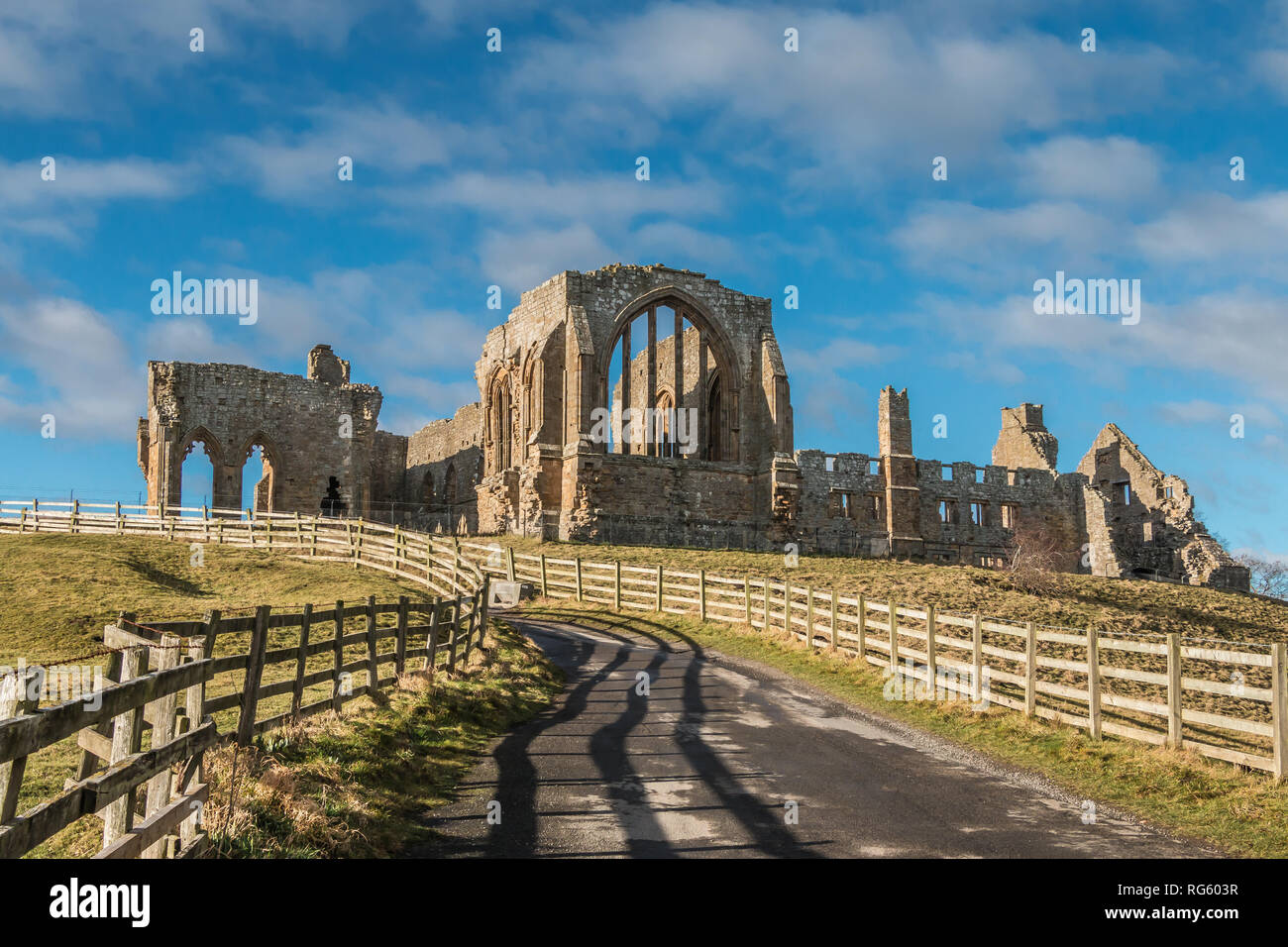 The remains of the Premonstratensian Monastery Egglestone Abbey, Barnard Castle, Teesdale, UK in winter sunshine Stock Photo