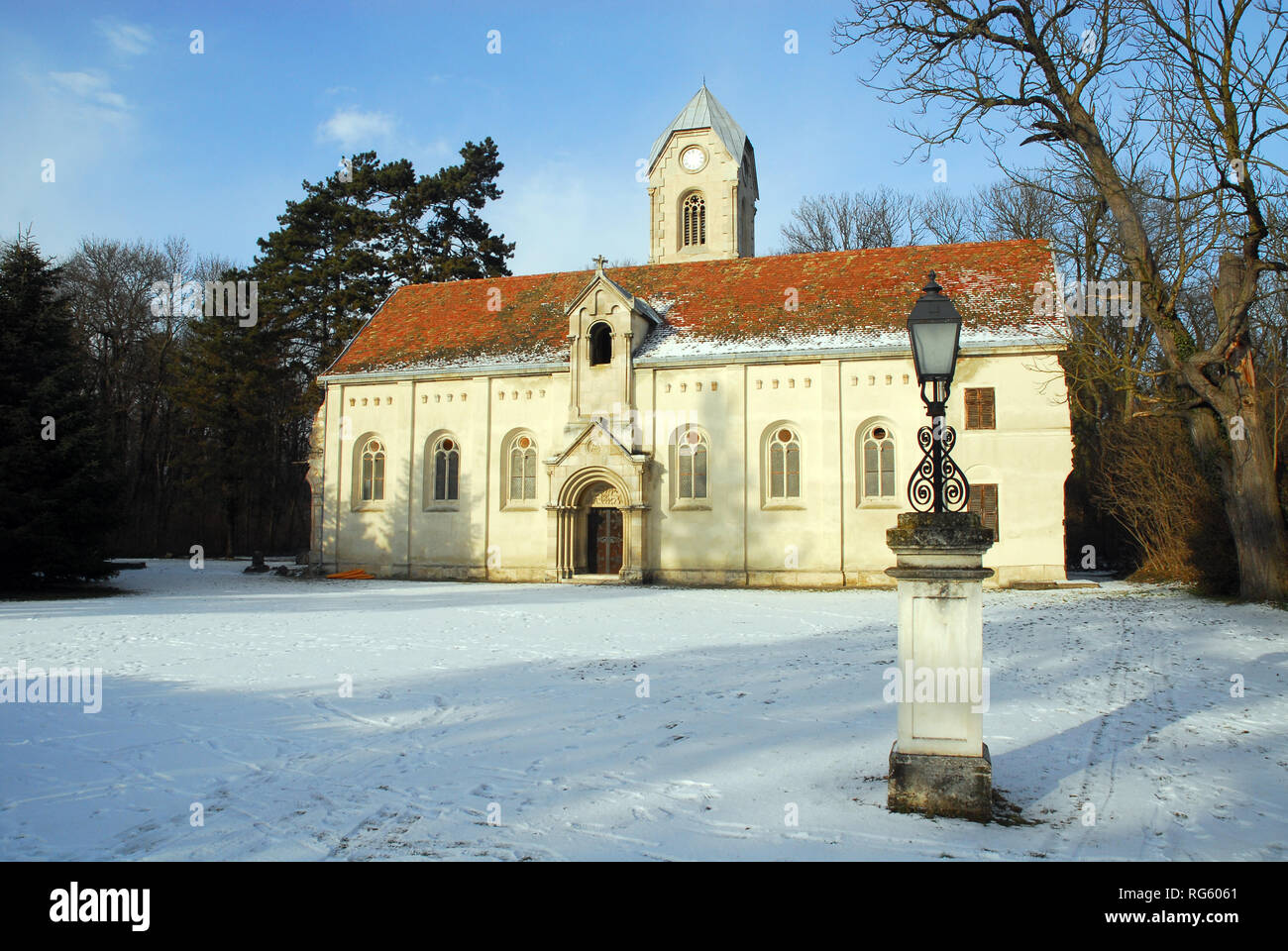 The chapel of the destroyed Habsburg palace in the arboretum in ...
