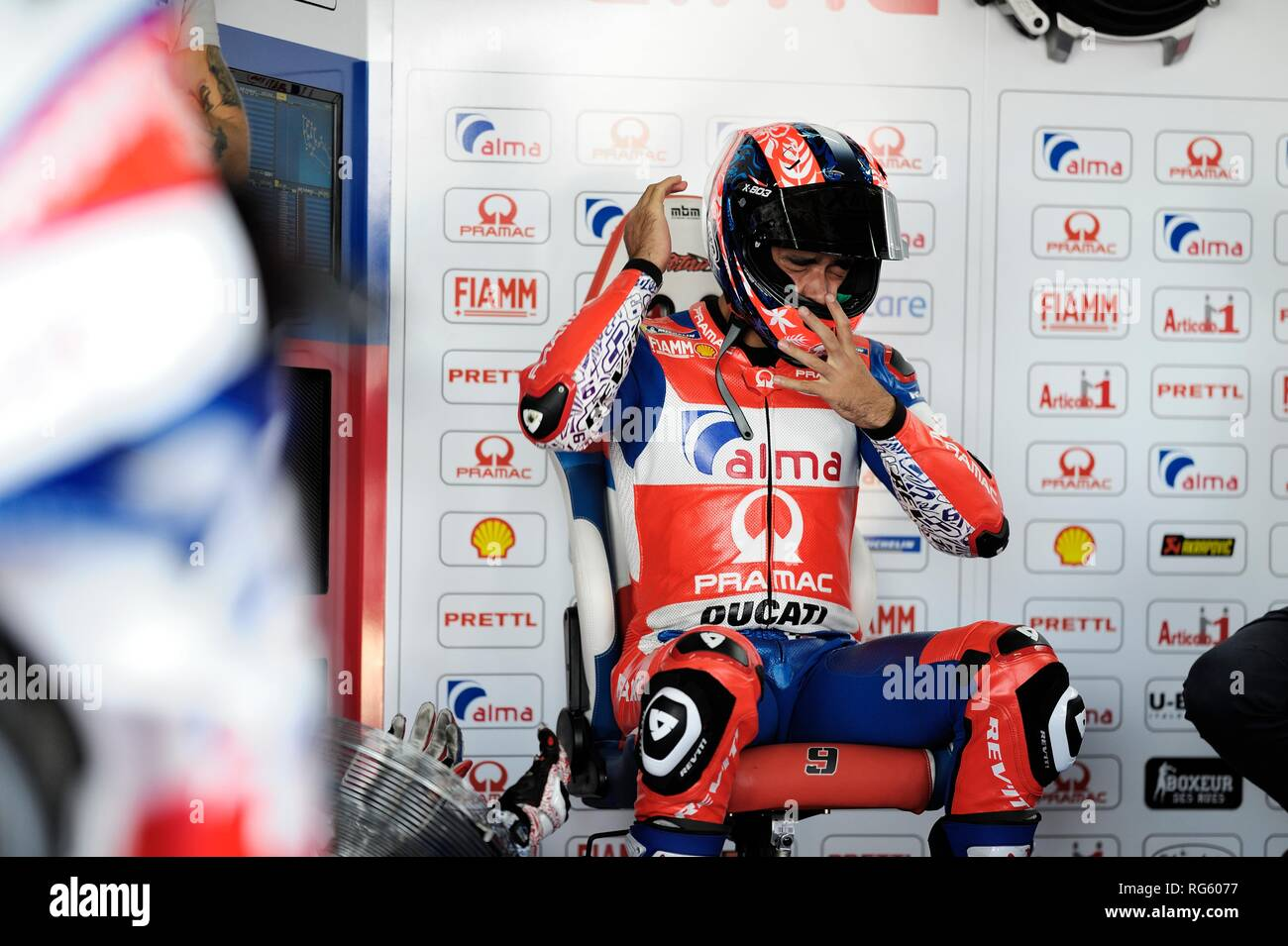 Aragon, Spain. 21st September, 2018. Danilo Petrucci of the Alma Pramac Racing Motogp Team gesticulates in the garage during the free practice 2  Cred - Stock Image