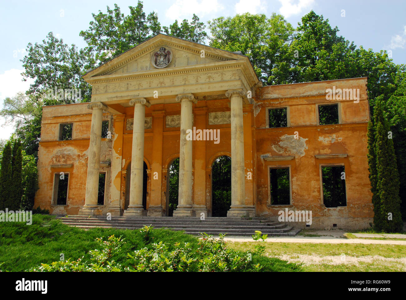 Ruins of the destroyed Habsburg Palace in Alcsútdoboz, Hungary. Az ...