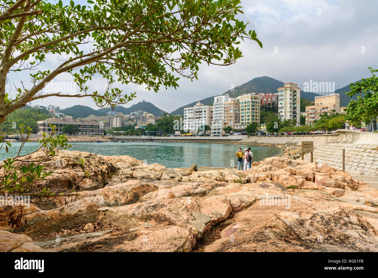 Views over Stanley Bay and waterfront promenade of Stanley, Hong Kong - Stock Image