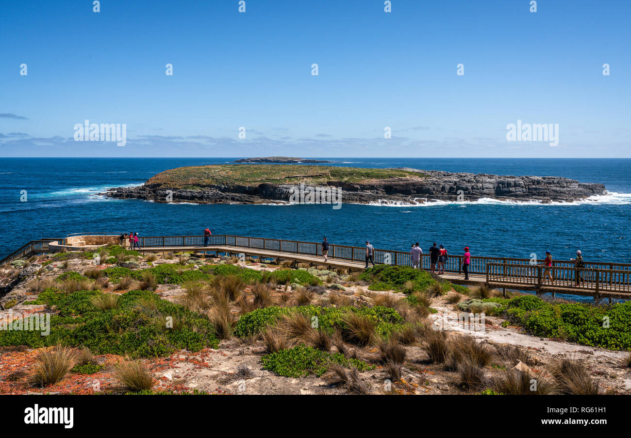 Panoramic view of Cape du Couedic with Casuarina Islets and boardwalk to admirable arch on Kangaroo island in SA Australia - Stock Image