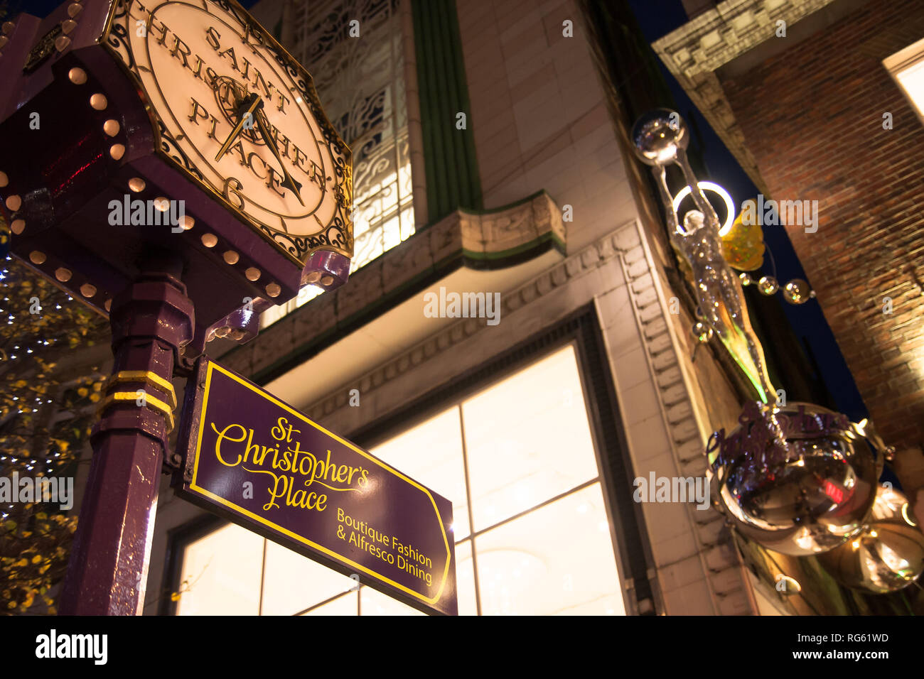Saint Christoper's Place Street in London for Christmas time. - Stock Image