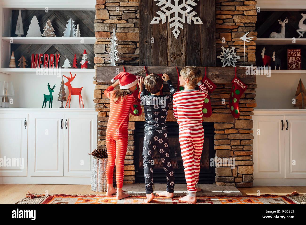 Children With Christmas Stockings Stock Photos & Children ...