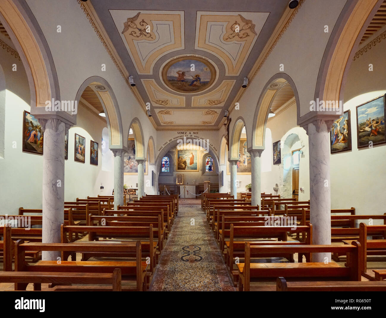 Town church of Yvoire, France - Stock Image