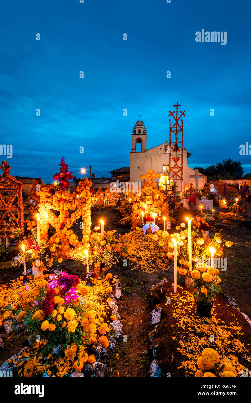 Cemetery and church on Day of the Dead in Arocutin, Michoacan, Mexico. - Stock Image