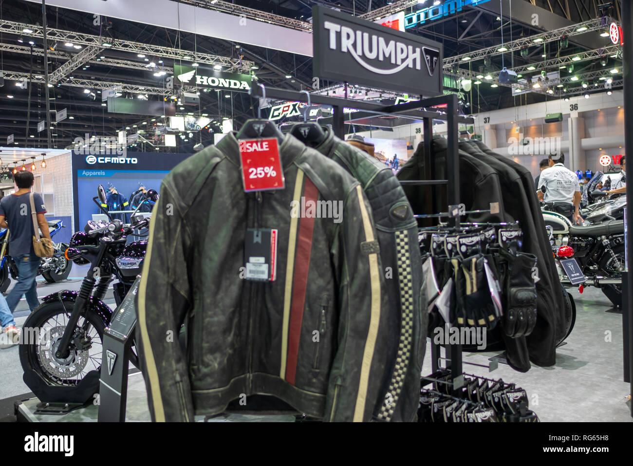 Bangkok, Thailand - November 30, 2018 :  TRIUMPH Motocycle and TRIUMPH Shop at Thailand International Motor Expo 2018 on Nov 30,2018 in Bangkok, Thail - Stock Image