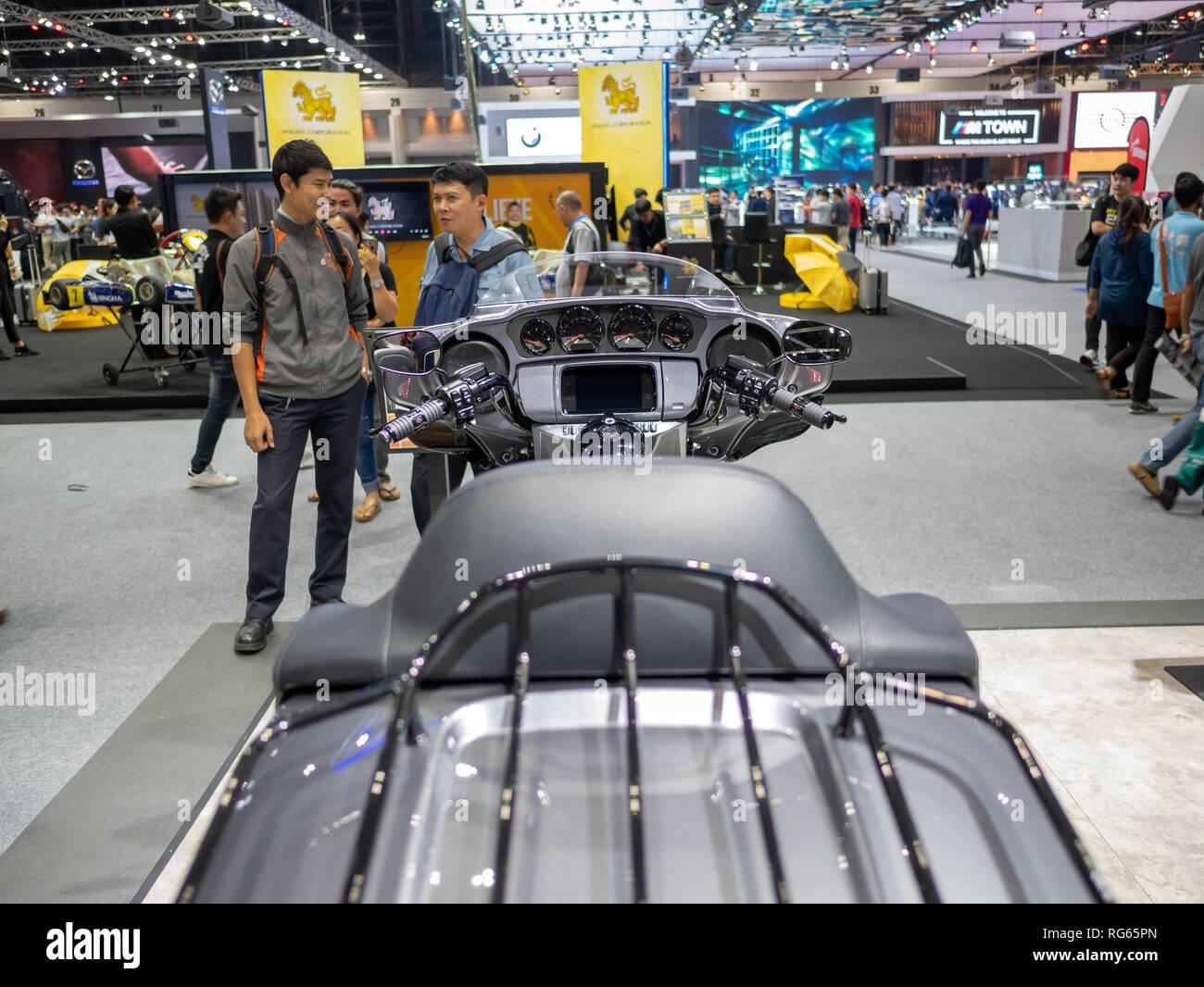 Bangkok, Thailand - November 30, 2018 :  Harley-Davidson Motorcycle and accessory at Thailand International Motor Expo 2018 (MOTOR EXPO 2018) on Nov 3 - Stock Image