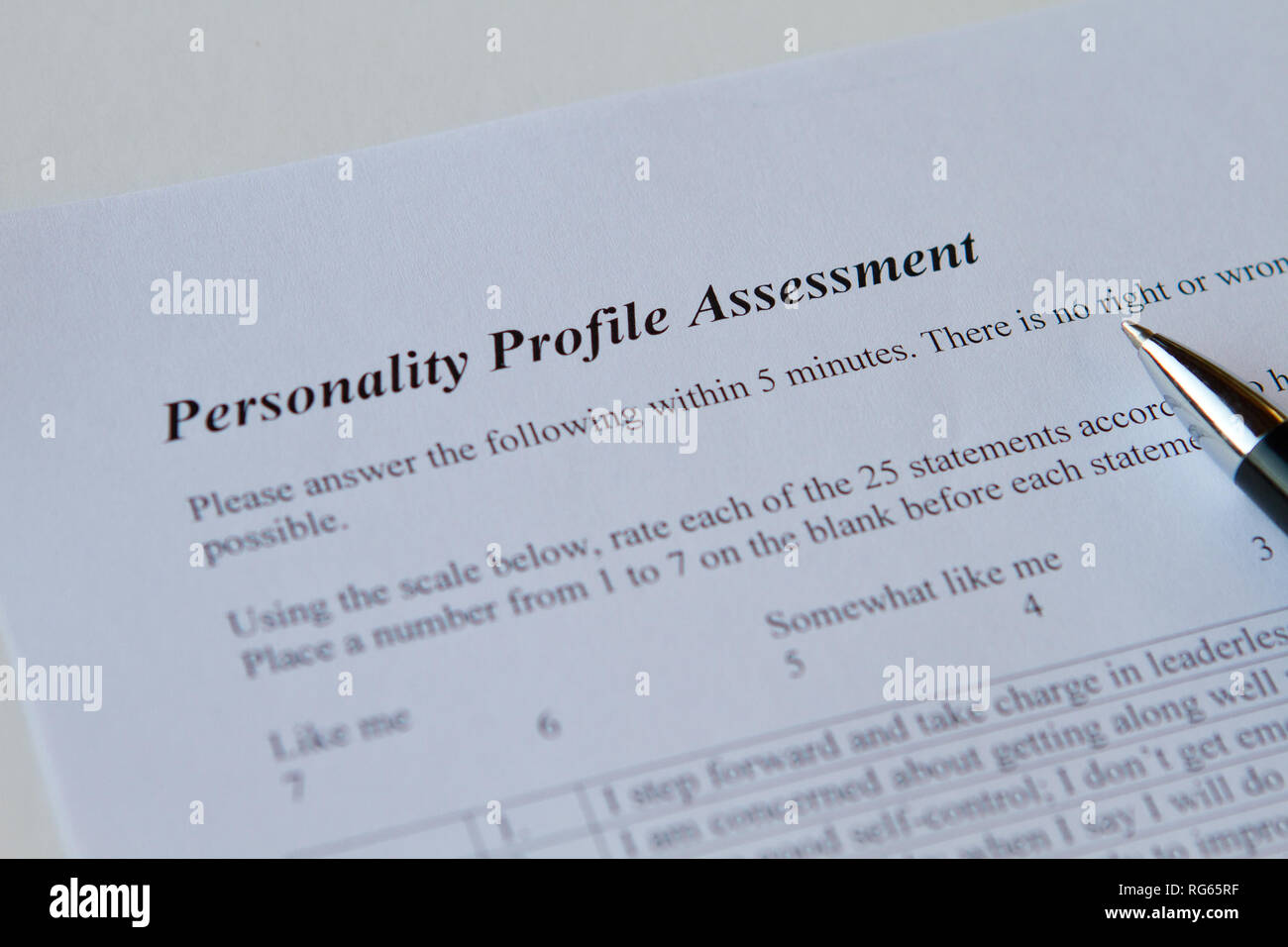 Personality profile assessment - Stock Image