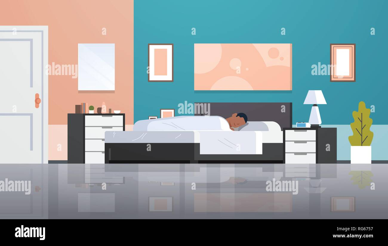 man sleeping in bed covered with quilt lazy african american guy sleep at morning bedroom modern apartment interior male cartoon character flat - Stock Vector