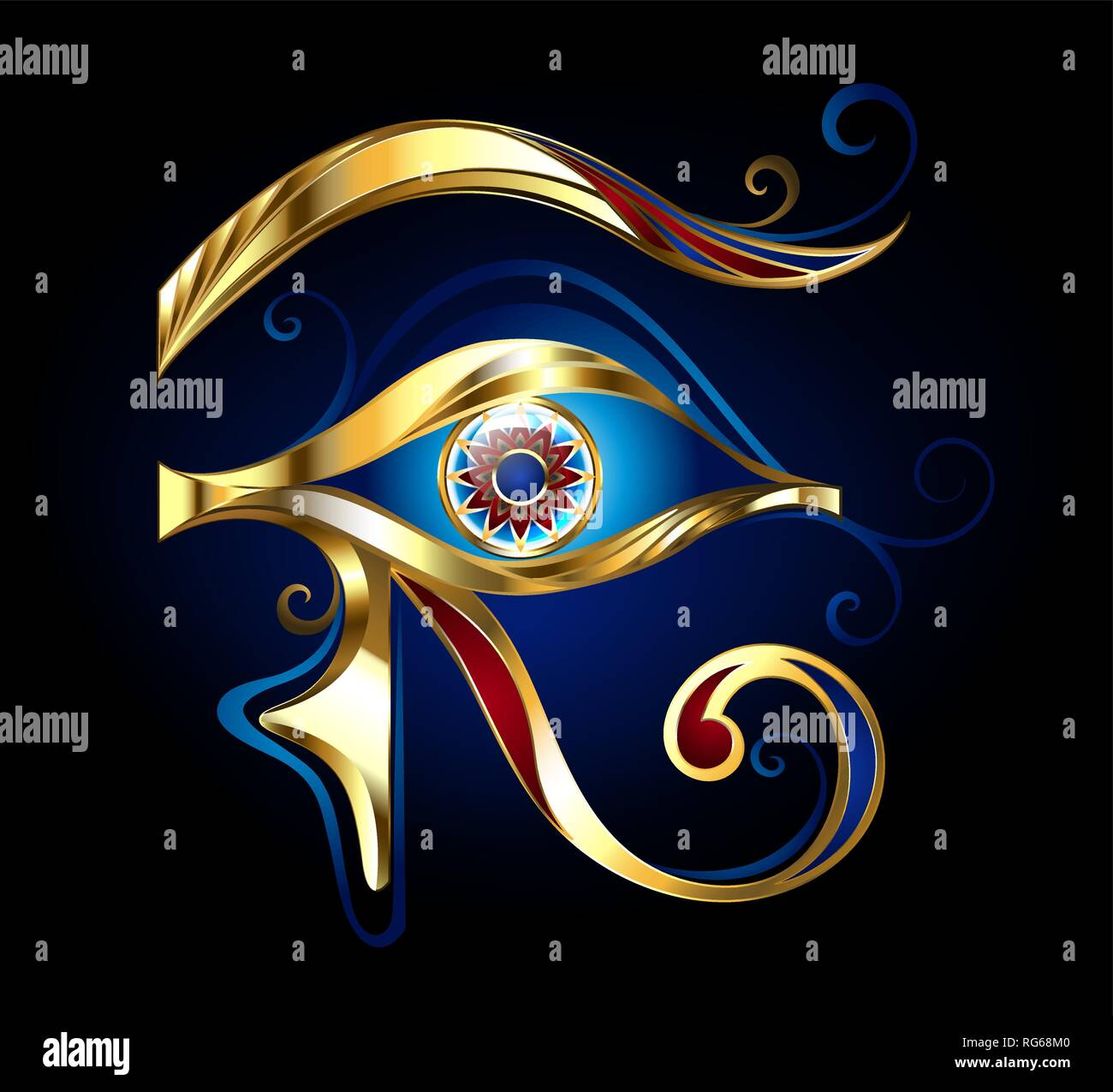 Amulet Eye of Horus of glittering gold, decorated with red and blue enamel on dark blue background. - Stock Vector