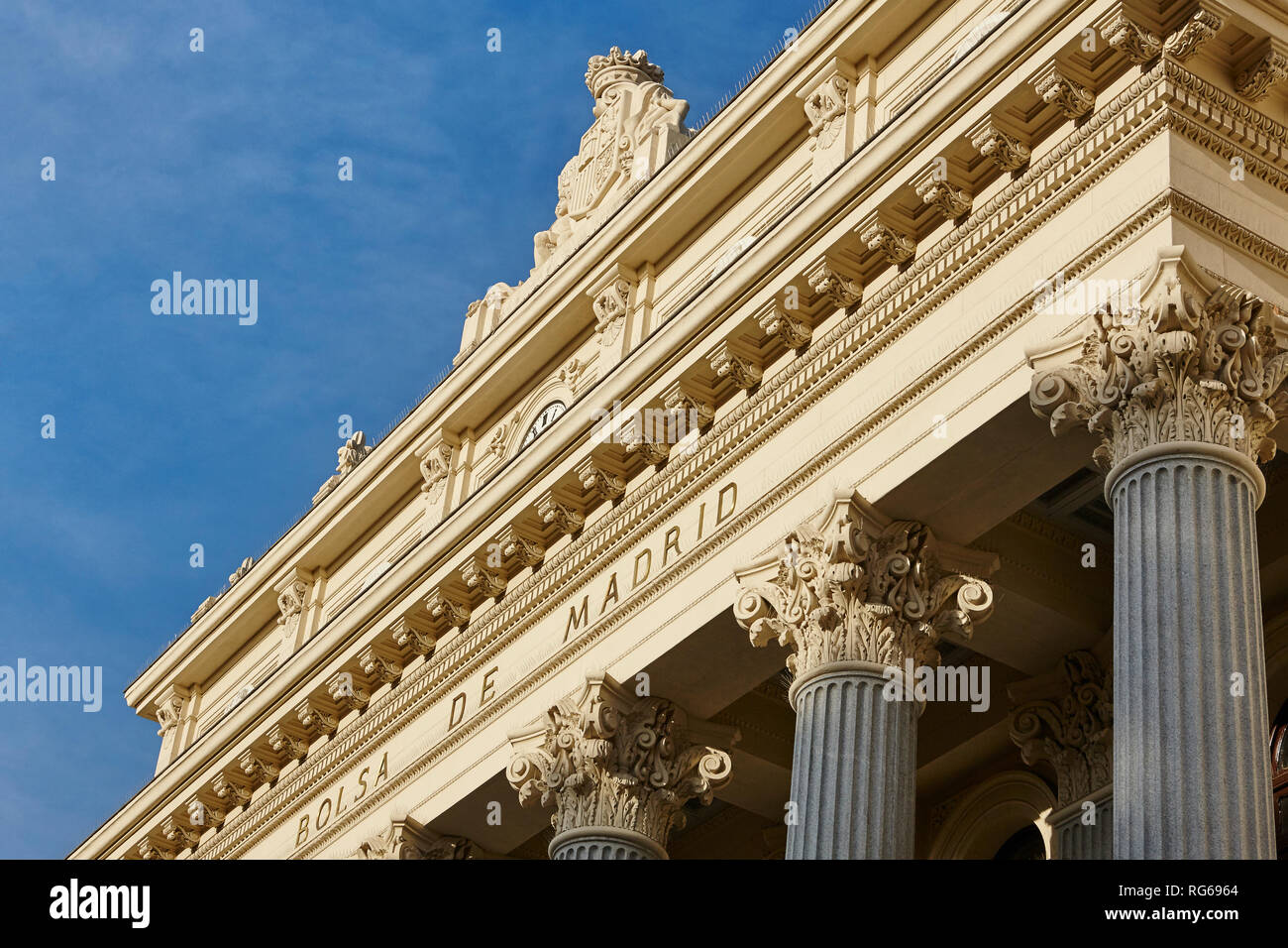 Spanish stock exchange building facade in downtown financial Madrid. Spain Stock Photo