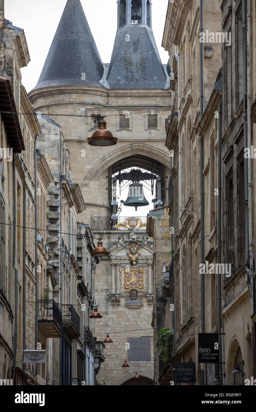 Bordeaux, France - September 9, 2018: La Grosse Cloche (Great bell15th century), the second remaining gate of the Medieval walls. Bordeaux, Gironde de - Stock Image