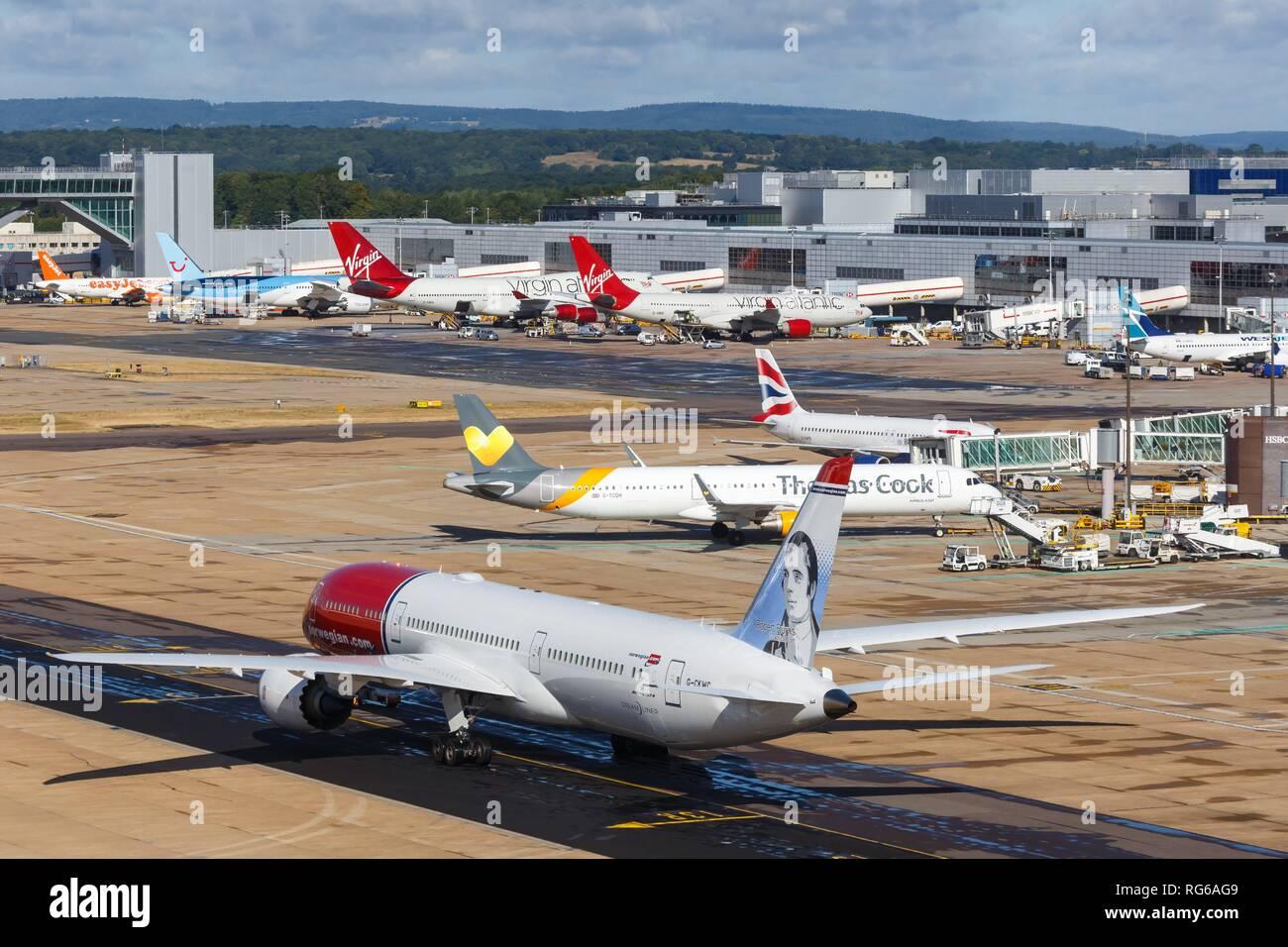 London, United Kingdom - July 31, 2018: Norwegian Boeing 787 airplane at London Gatwick airport (LGW) in the United Kingdom. | usage worldwide - Stock Image