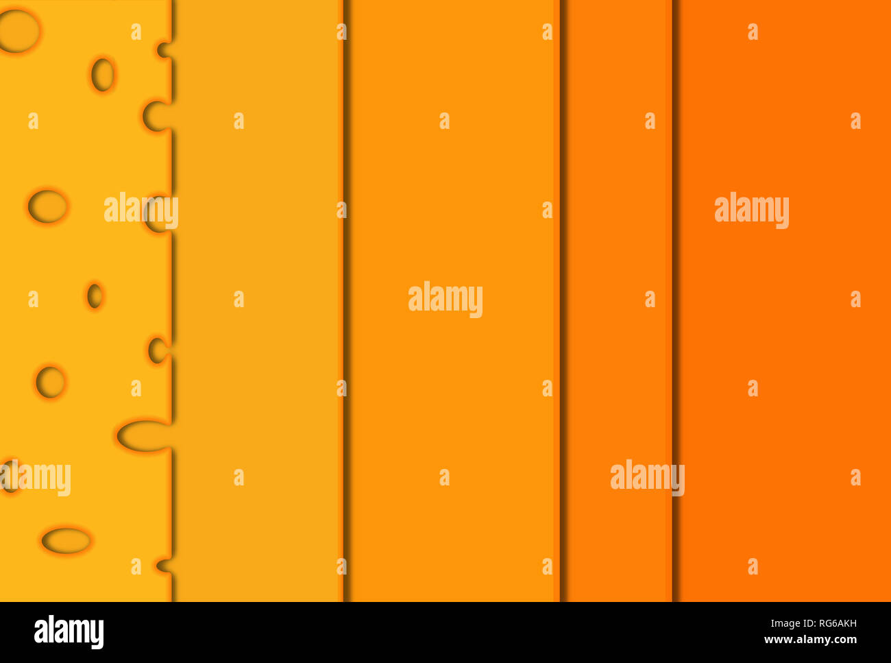 Cheese slices and differente cheese colors, illustration - Stock Image