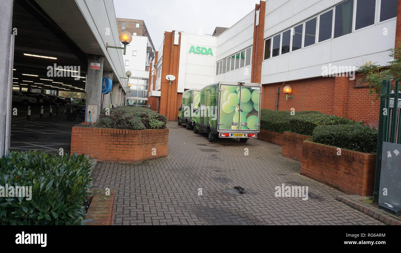 Delivery van parked at Asda Superstore in Colindale, London - Stock Image