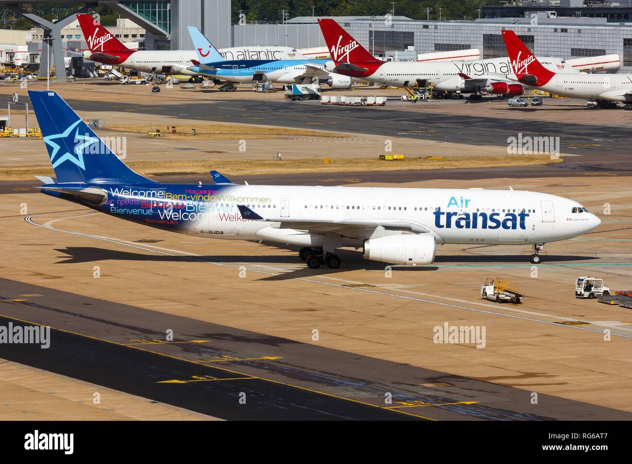 London, United Kingdom - July 31, 2018: Air Transat Airbus A330 airplane at London Gatwick airport (LGW) in the United Kingdom. | usage worldwide - Stock Image