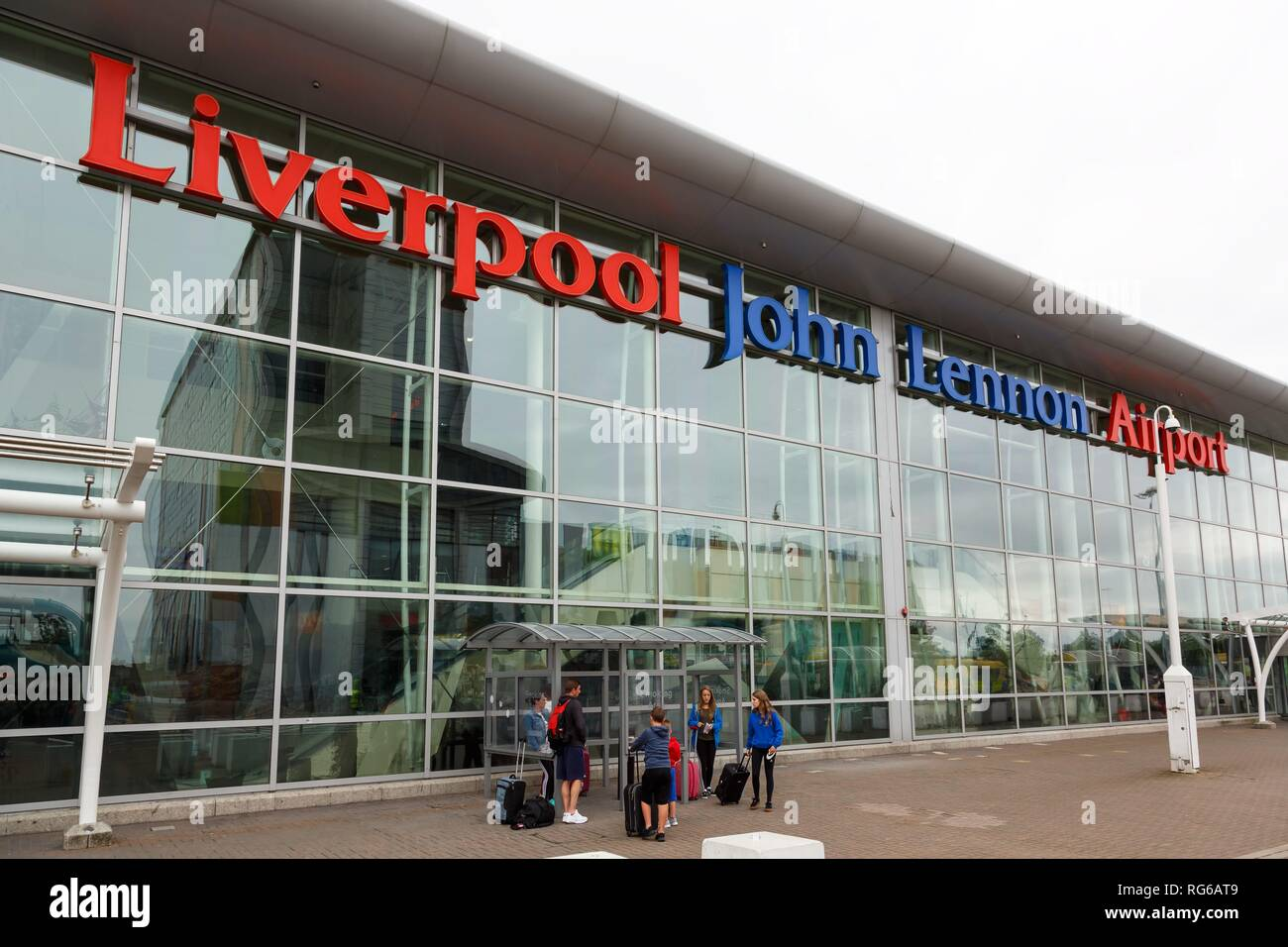 Liverpool, United Kingdom - August 14, 2017: Terminal at Liverpool airport (LPL) in the United Kingdom. | usage worldwide - Stock Image