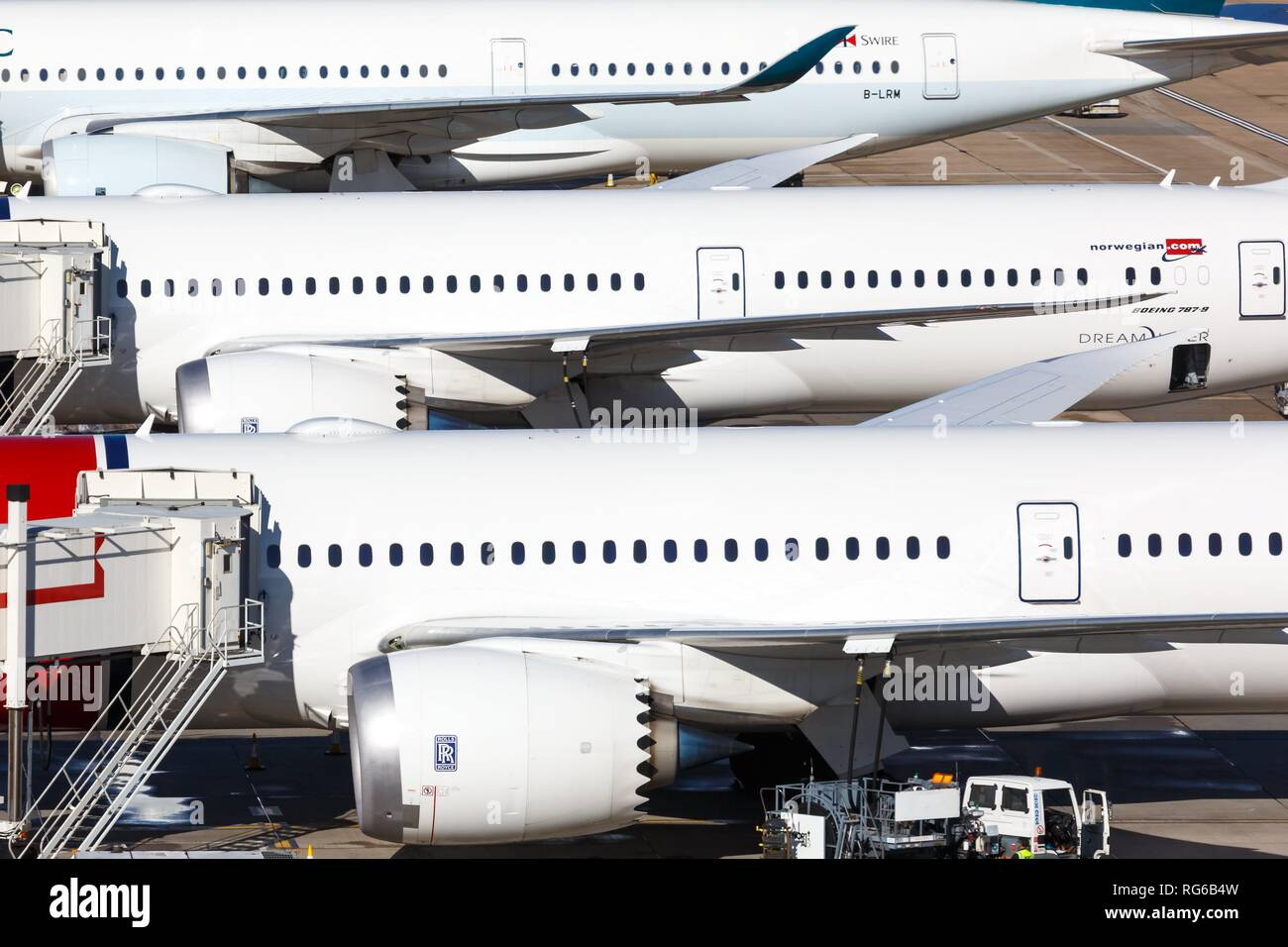 London, United Kingdom - July 31, 2018: Airplanes at London Gatwick airport (LGW) in the United Kingdom. | usage worldwide - Stock Image
