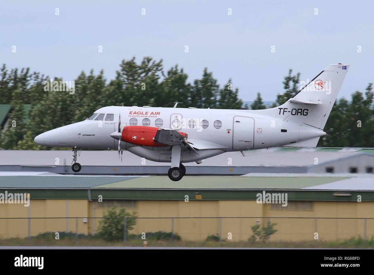 Reykjavik, Iceland – July 4, 2017: Eagle Air Flugfelagid Ernir Jetstream airplane at Reykjavik airport (RKV) in Iceland.   usage worldwide - Stock Image