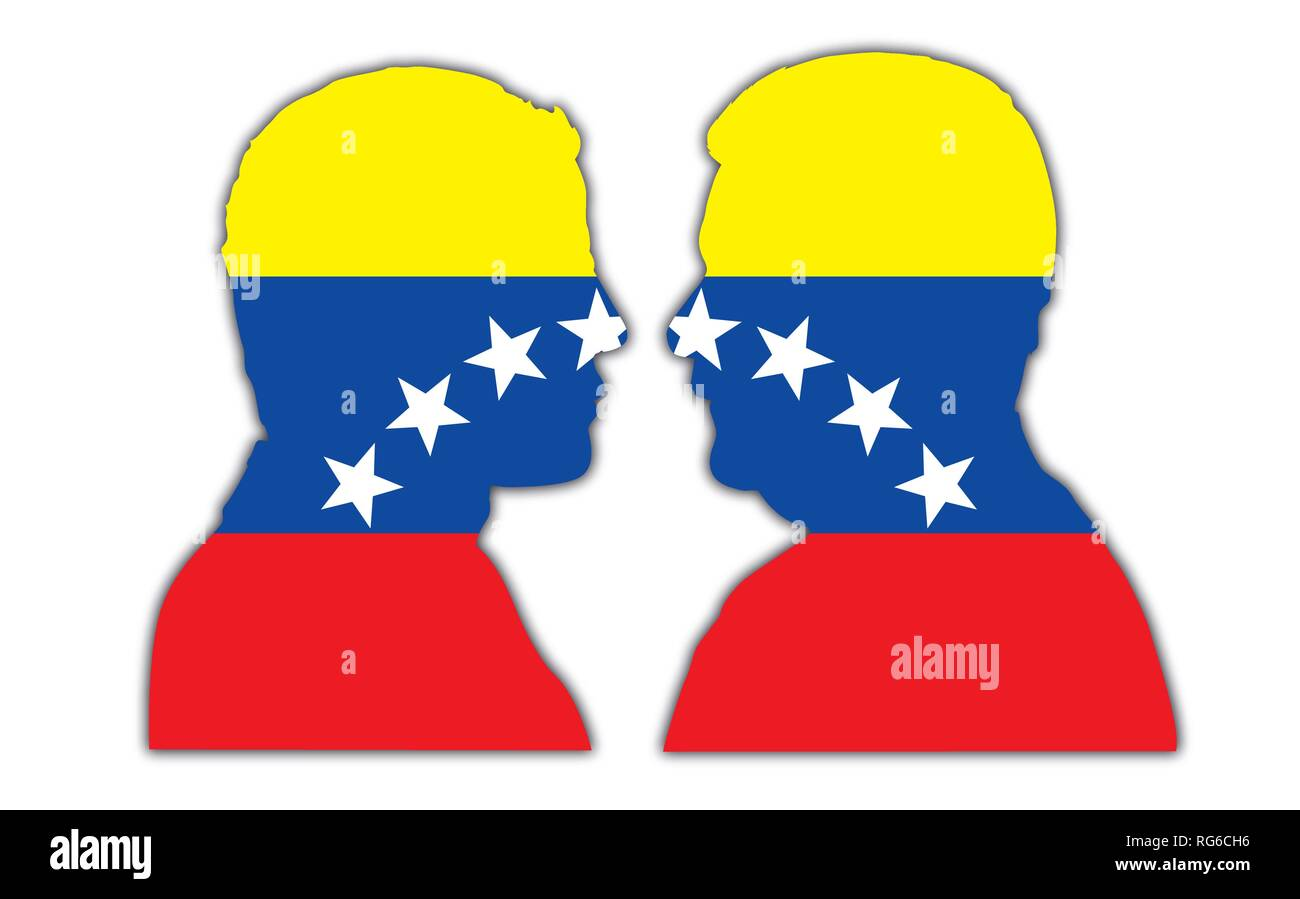 Nicolas Maduro and Juan Guaido portrait silhouettes on the Venezuela flag, vector illustration - Stock Vector