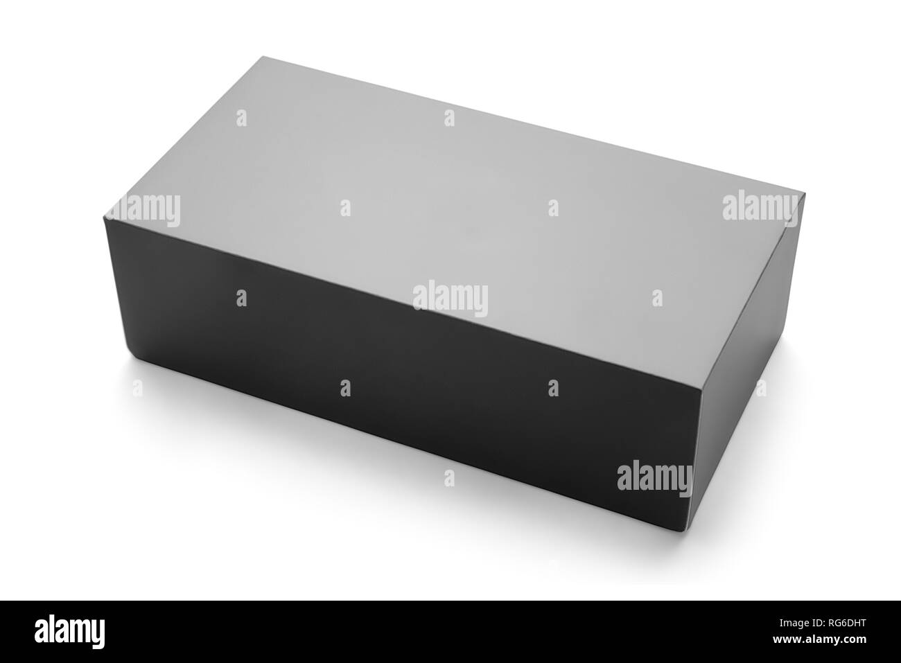 Blank clused black box angle view. Isolated on white, clipping path included - Stock Image
