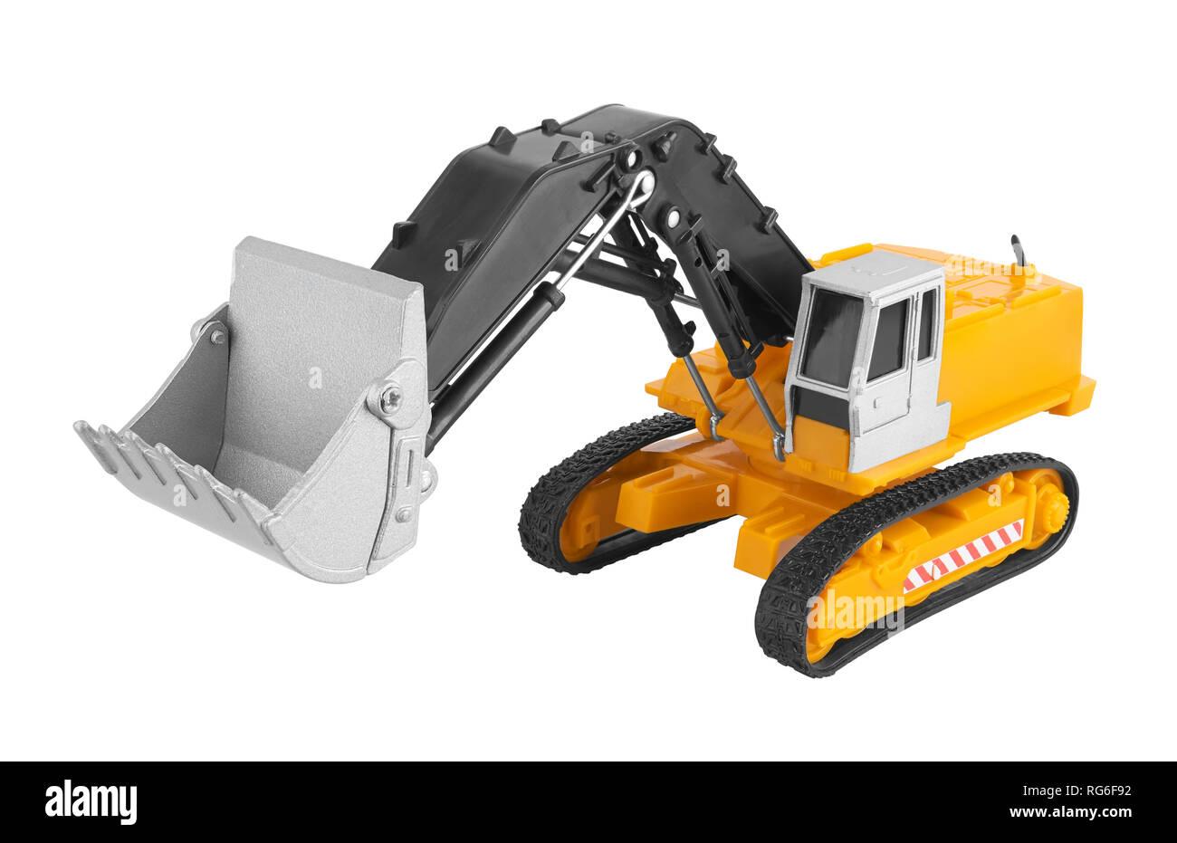Bulldozer isolated on white background. Model. - Stock Image